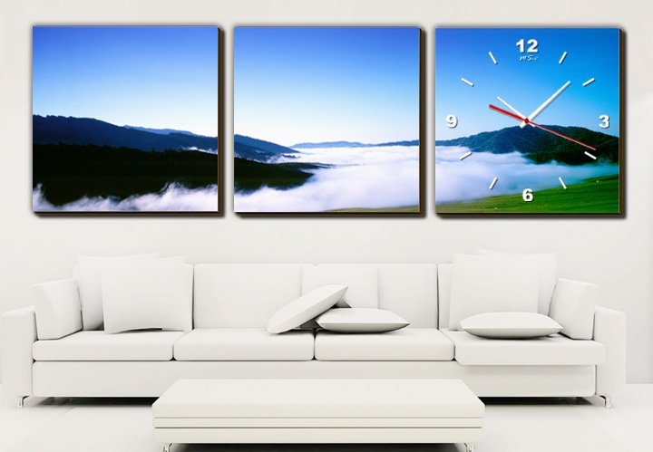 Modern Style Scenic Canvas Wall Clock 3pcs H3510