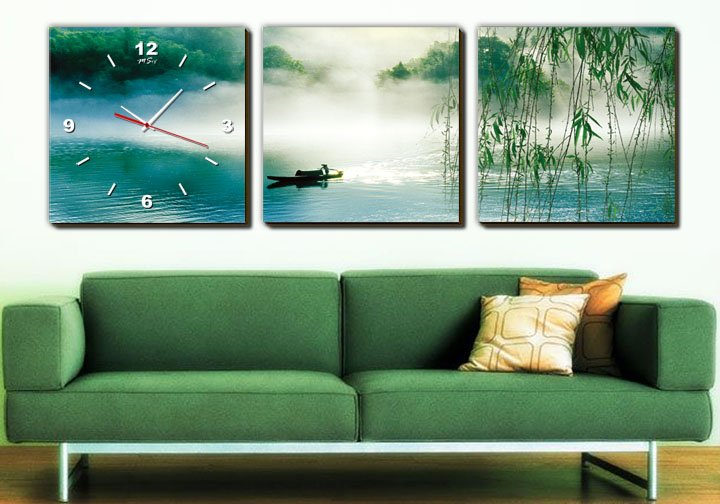 Modern Style Scenic Canvas Wall Clock 3pcs H3512
