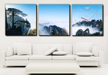 Modern Style Scenic Canvas Wall Clock 3pcs H3514