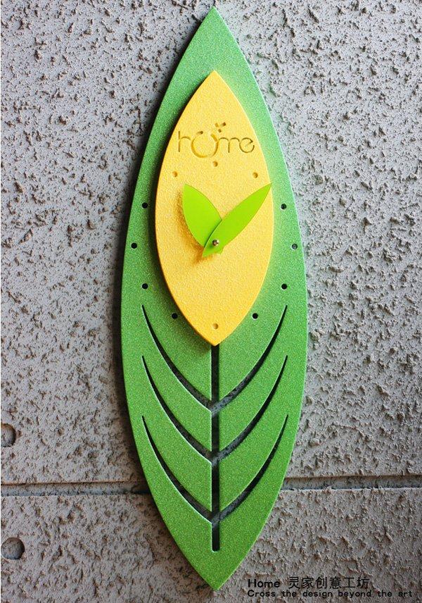 Green Leaf Style Wall Clock