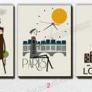 Cartoon City Wall Clock in Canvas 3pcs - 638M