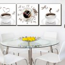 Modern Style Coffee Cup Wall Clock in Canvas 3pcs - 589M
