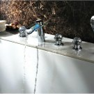 NEW**deck mount LED rainfall tub Faucet with hand shower chrome finish HG1222