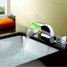 NEW Brass Waterfall Bathroom Sink Faucet with Stainless Steel Spout (Widespread)  HW1060