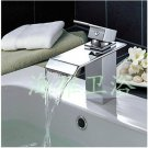 NEW*Contemporary Chrome Finish Waterfall Stainless Steel Basin Faucet  1247