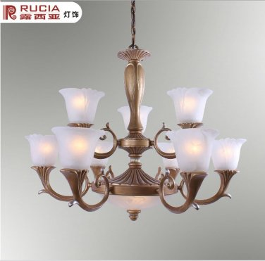 European Transitional Chandelier Light with 9 Lights Up with white floral shades CH085-9+2+42