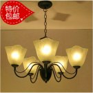 European-Style 5 Light Chandelier with white flower glass shade 60185p