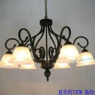 European-Style 6 Light Chandelier with white glass shade 60776P