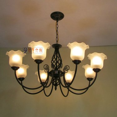 European-Style 8 Light Chandelier with white shade 130318P