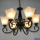 European-Style 6 Light Chandelier with white shade 60766P