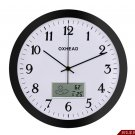 "Class 12"" Round Wall Clock With Temperature Display -BLACK"