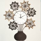 Floral Style Metal Wall Clock - ZE3001
