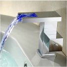 Contemporary Color Changing LED Bathroom Sink Faucet (Waterfall) HW1023C