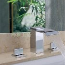 NEW Contemporary Widespread  rainfall basin Faucet chrome finish HL1004-C