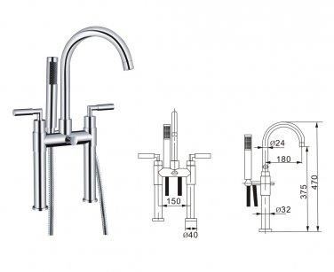 Contemporary Centerset Solid Brass Double Handles Bridge Bathtub Faucet with Hand Shower(Chrome)