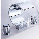 NEW*Contemporary Chrome Finish Waterfall Stainless Steel basin Faucet widerspread HW2048