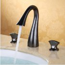 Contemporary ORB finish Three Holes Two Handles Waterfall Bathroom Sink Faucet 2059A