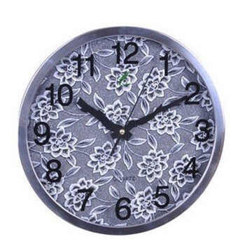 """12""""H Round Floral Style Stainless Steel Mute Wall Clock - LEYU8013-1"""