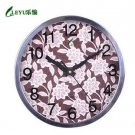 "12""H Round Floral Style Stainless Steel Mute Wall Clock - LEYU8013-2"