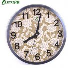 "12""H Round Floral Style Stainless Steel Mute Wall Clock - LEYU8013-3"
