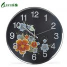 "12""H Floral Pastoral Style Stainless Steel Wall Clock - LEYU8939"