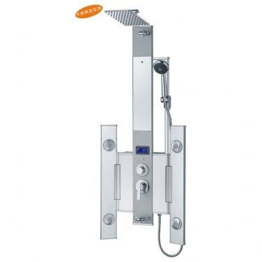 Aluminum rainfall LED shower Panel 4 Body Massage Jets V731-809-D