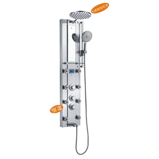Stainless steel thermal rainfall shower panel tower tub for Shower tower with body jets