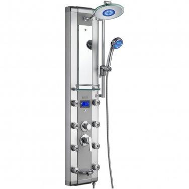 Aluminum LED Rainfall Shower Panel Tower Tub Faucet Spout 8 Body Massage Spa Jets V53-33-D