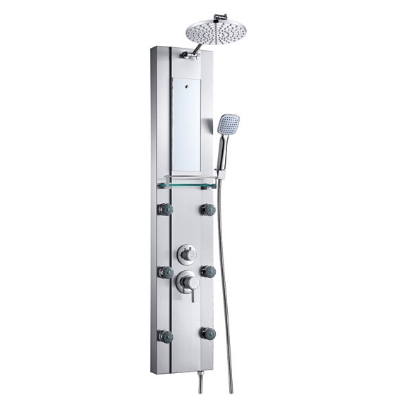 Stainless steel rainfall shower panel tower tub faucet for Shower tower with body jets