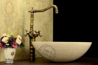 Antique Brass Countertop Double Handles Bathroom Sink Faucet KZ-181Q