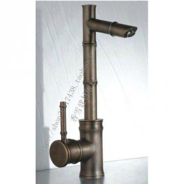 Antique Brass Finish Bathroom Sink Faucet - Bamboo Shape Design 095