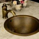 34*34*17cm Round Antique Brass Vessel Sink Under Counter Basin TP1003