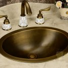 43.5*34.5*17.8cm Oval Antique Brass Vessel Sink Under Counter Basin TP1008