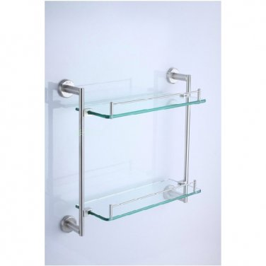 Contemporary Stainless Steel And Glass Material Bathroom Shelf 7614