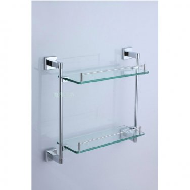 Contemporary Stainless Steel And Glass Material Bathroom Shelf Chrome finish 7814