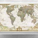 Printed Art Vintage Linen World Map with Stretched Frame - MDT04