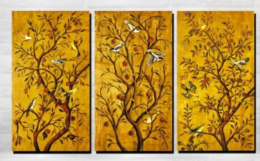 Stretched Canvas Art Animal Birds and Tree Set of 3 - MQX08