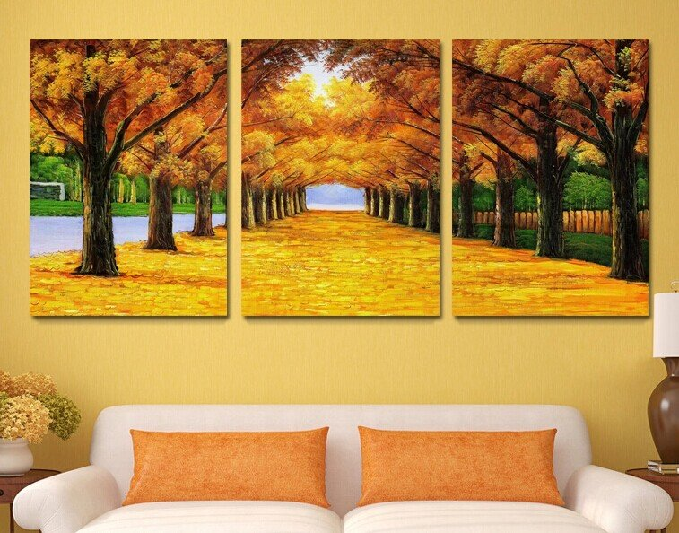 Stretched Canvas Art Landscape Yellow Trees Road Set of 3 - YAYI002