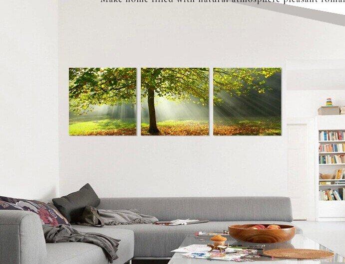Stretched Canvas Art Landscape Green Tree Set of 3 - YAYI004