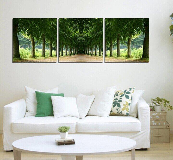 Stretched Canvas Art Landscape Green Tree Set of 3 - YAYI006
