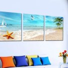 Stretched Canvas Art Landscape Coastal Beach Set of 3 - YAYI201