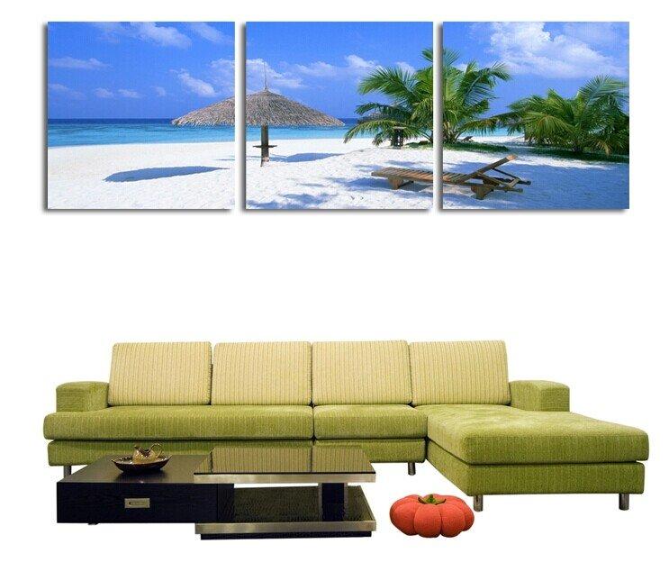 Stretched Canvas Art Landscape Coastal Beach Set of 3 - YAYI203