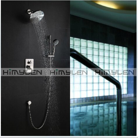 Contemporary Shower Faucet with 8 inch Shower Head + Hand Shower Satin Nickle Finish----000328