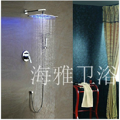 Contemporary Shower Faucet with 8 inch LED Shower Head + Hand Shower----000339
