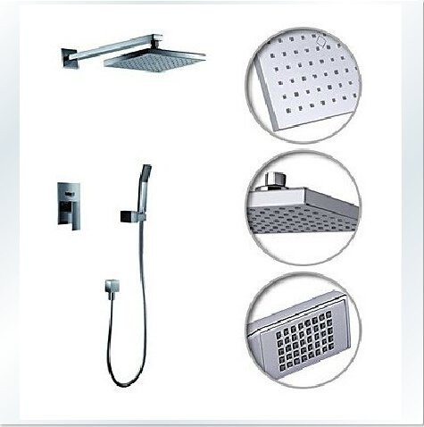 Contemporary Shower Faucet with 8 inch Shower Head + Hand Shower---000340