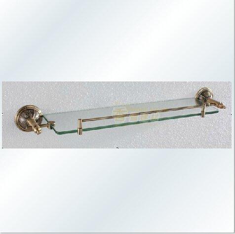 European Vintage Brass Antique Glass Shelf 1304