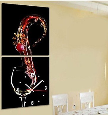 "16""Modern Style Wine Theme Wall Clock in Canvas Set of 2"