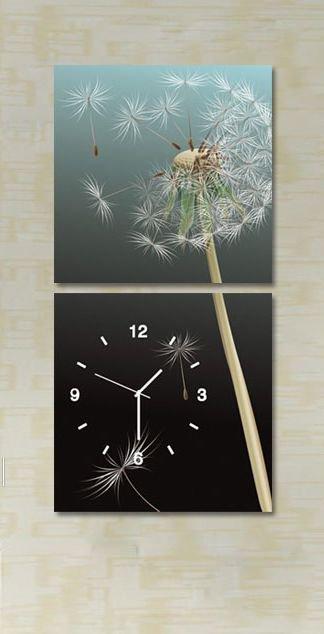 "16""Modern Style Dandelion Wall Clock in Canvas 2pcs - MPF(SB0060)"
