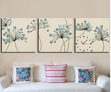 "16""Contemporary Botanical Wall Clock in Canvas 3pcs - MPF(CX0012)"