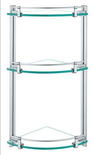 Contemporary Aluminium  And Glass Material Bathroom Shelf  0437